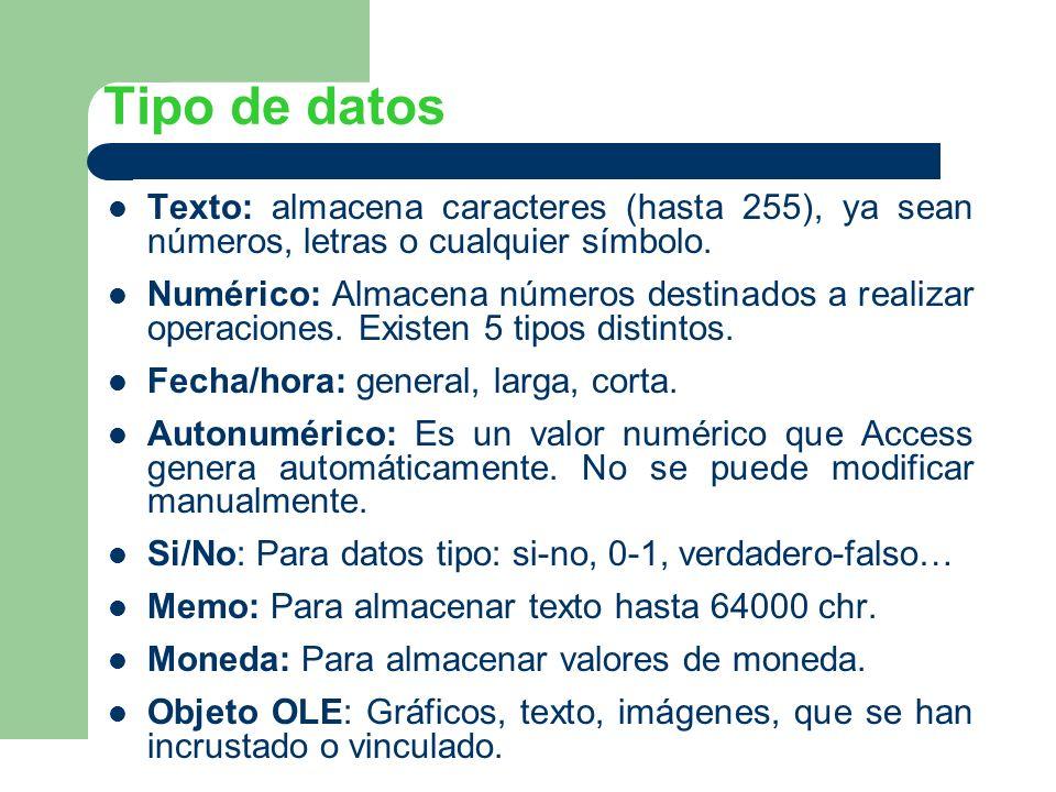 Tipo de datos Texto: almacena caracteres (hasta 255), ya sean números, letras o cualquier símbolo.