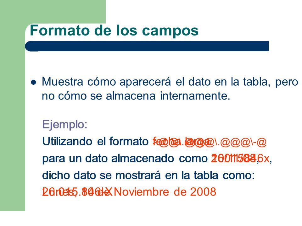 Formato de los campos Muestra cómo aparecerá el dato en la tabla, pero no cómo se almacena internamente.