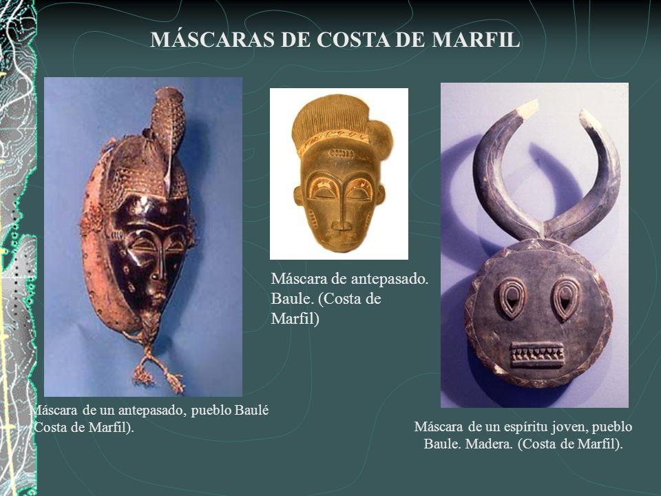 Máscara de un espíritu joven, pueblo Baule. Madera. (Costa de Marfil).