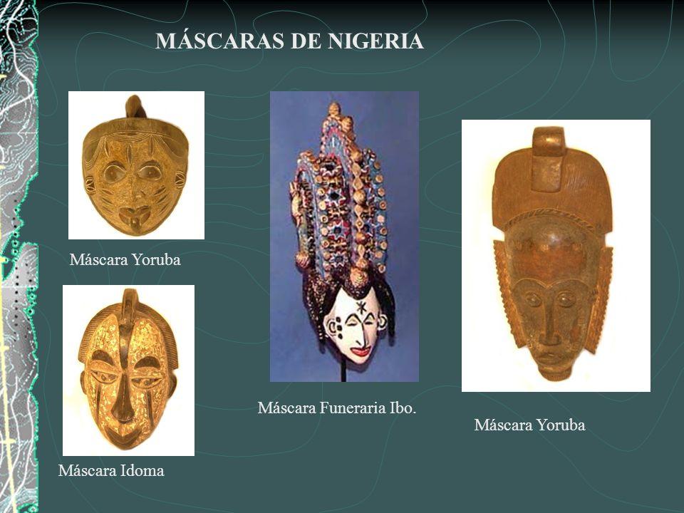 MÁSCARAS DE NIGERIA Máscara Yoruba Máscara Funeraria Ibo.