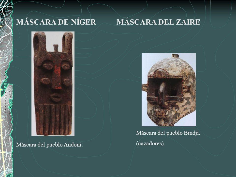 MÁSCARA DE NÍGER MÁSCARA DEL ZAIRE Máscara del pueblo Bindji.