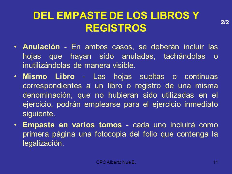 DEL EMPASTE DE LOS LIBROS Y REGISTROS