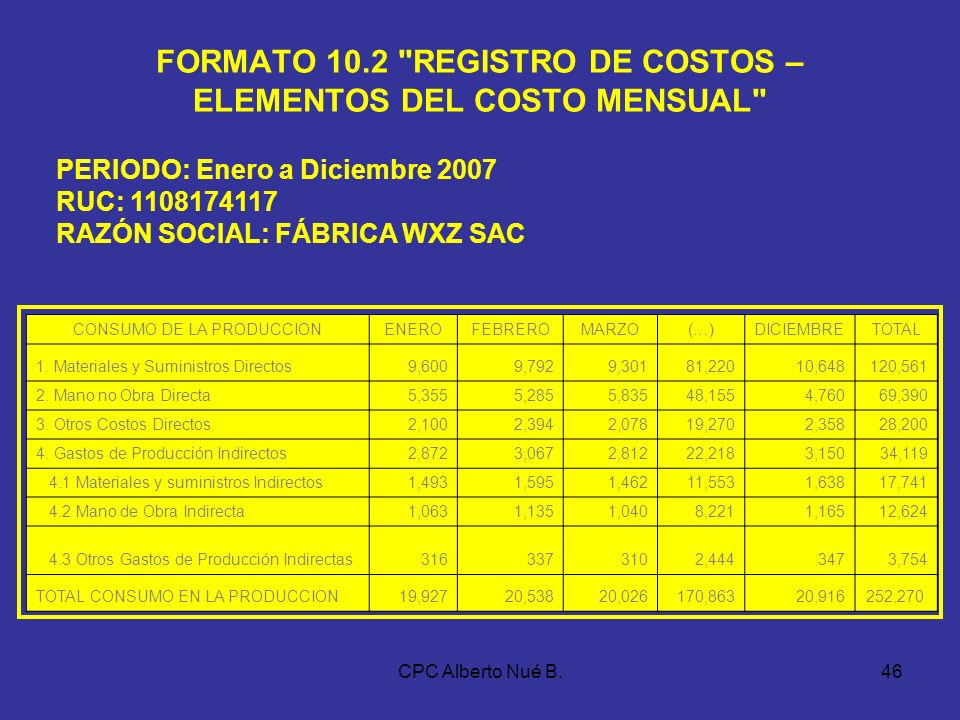 FORMATO 10.2 REGISTRO DE COSTOS – ELEMENTOS DEL COSTO MENSUAL