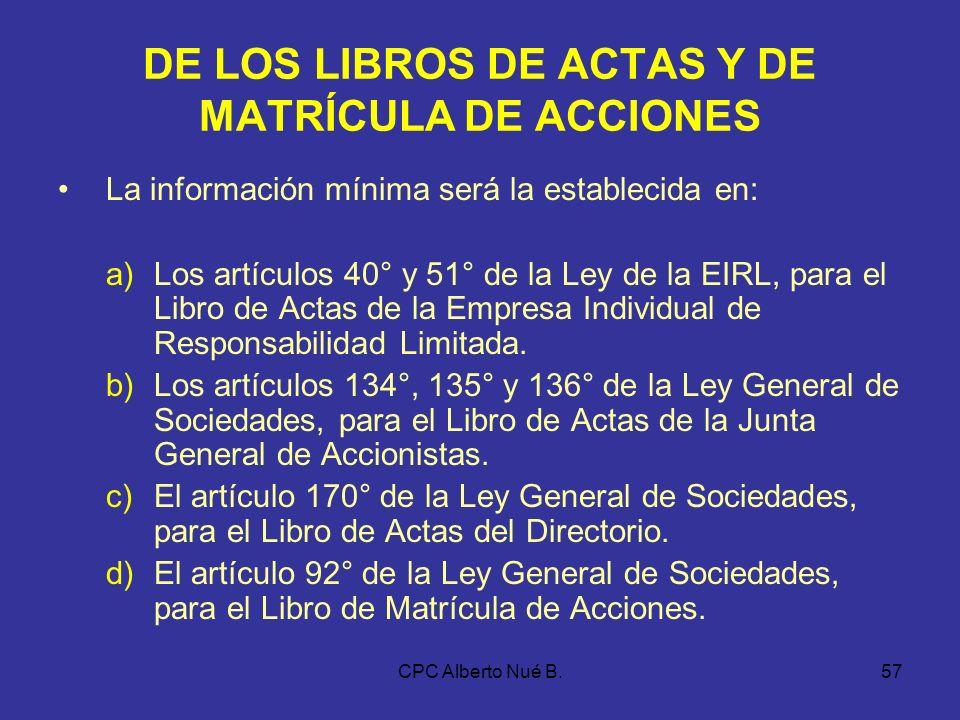 DE LOS LIBROS DE ACTAS Y DE MATRÍCULA DE ACCIONES