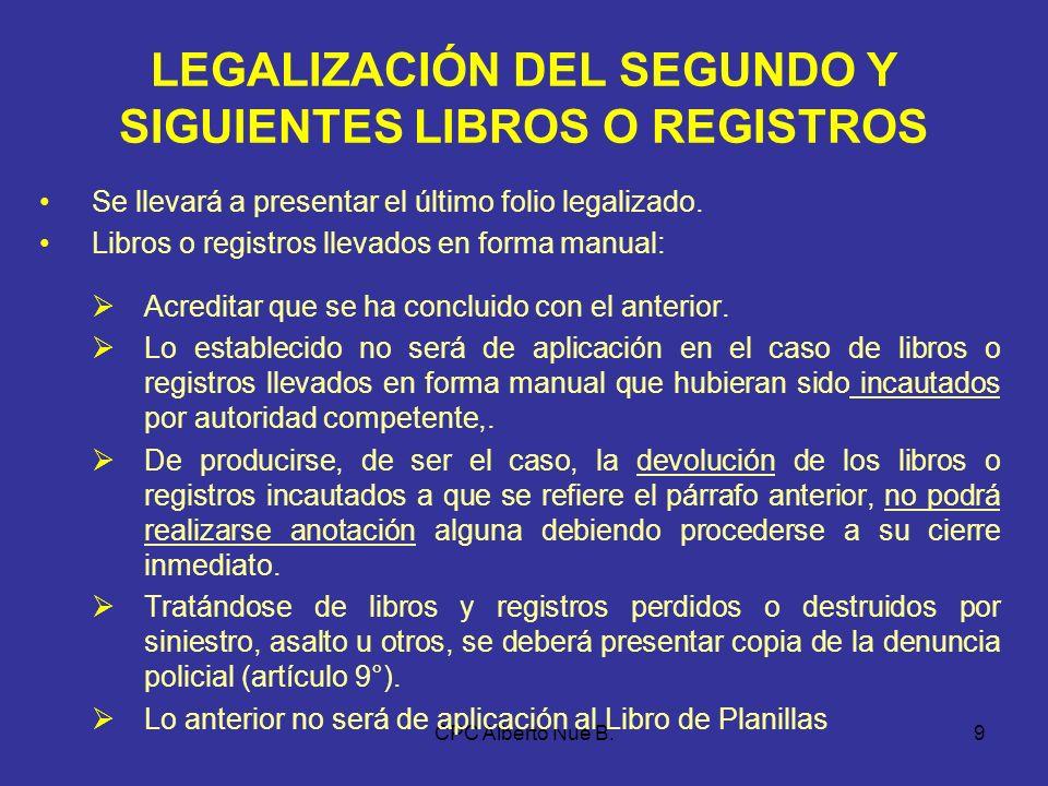 LEGALIZACIÓN DEL SEGUNDO Y SIGUIENTES LIBROS O REGISTROS