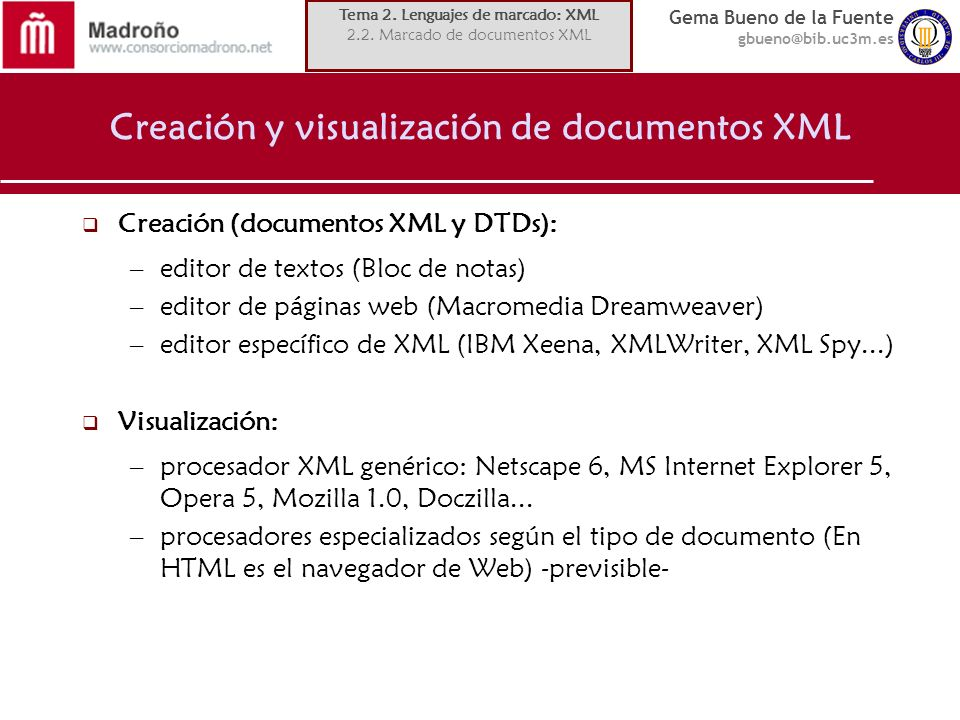 Creación y visualización de documentos XML