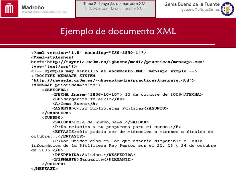 Ejemplo de documento XML