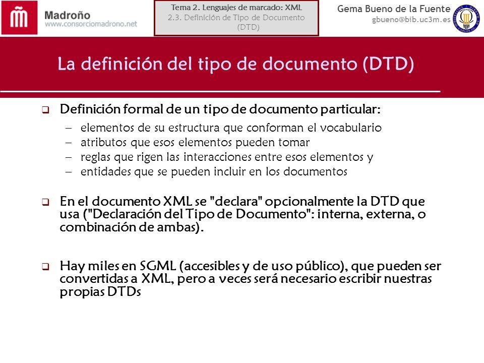 La definición del tipo de documento (DTD)