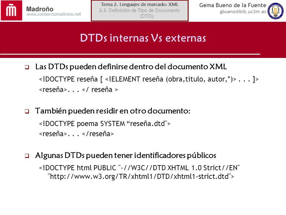 DTDs internas Vs externas