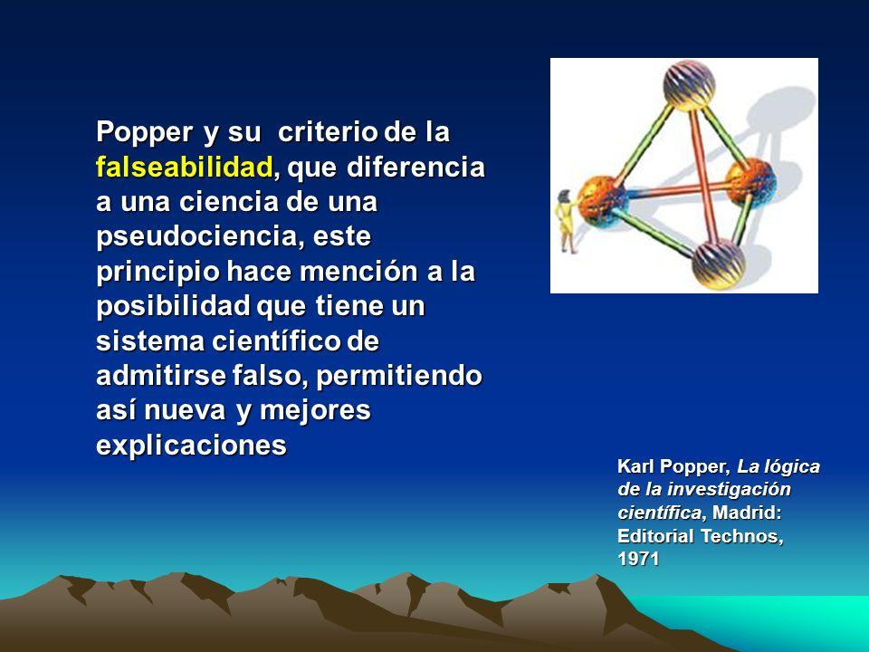 Popper y su criterio de la falseabilidad, que diferencia a una ciencia de una pseudociencia, este principio hace mención a la posibilidad que tiene un sistema científico de admitirse falso, permitiendo así nueva y mejores explicaciones