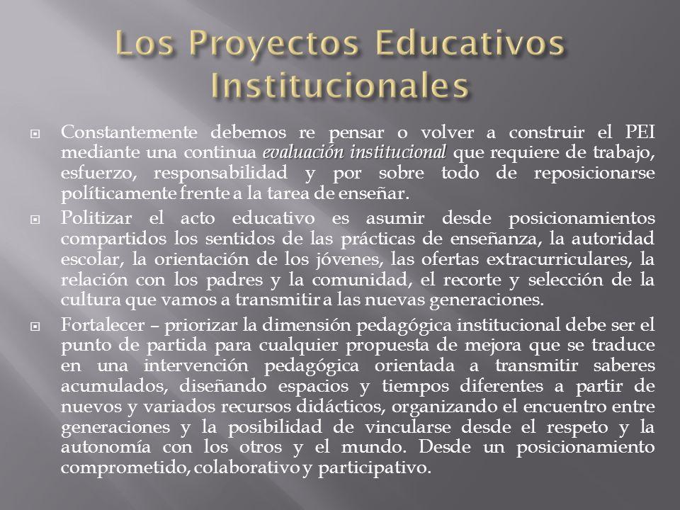 Los Proyectos Educativos Institucionales