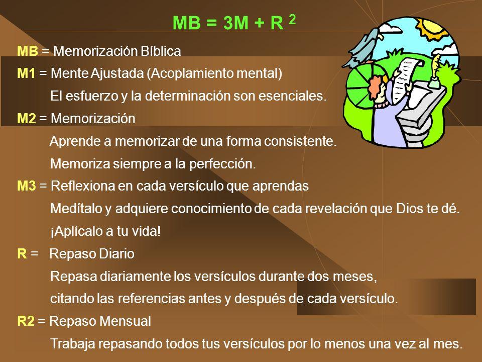 MB = 3M + R 2 MB = Memorización Bíblica