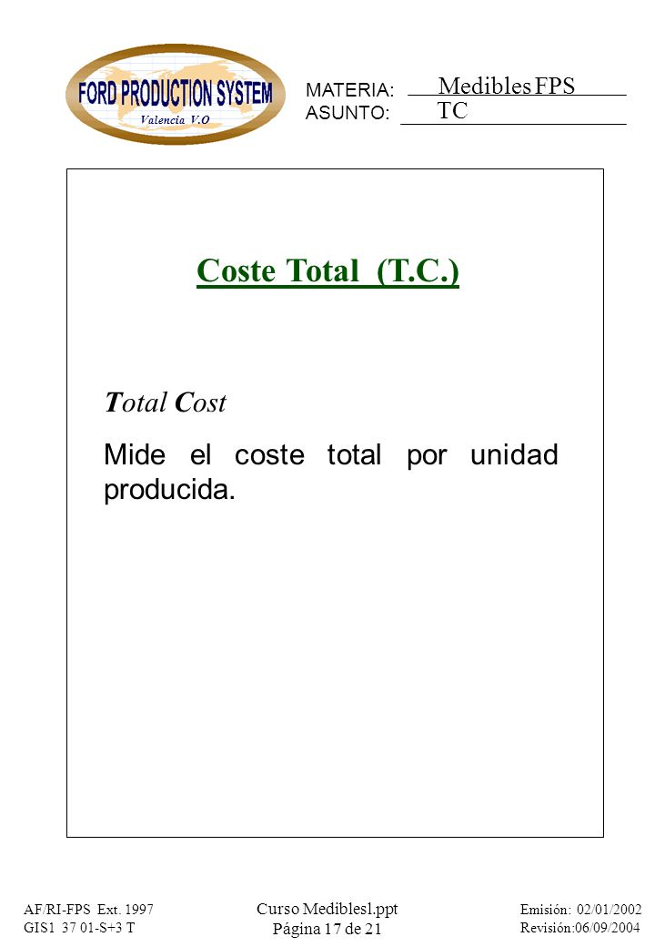 Coste Total (T.C.) Total Cost
