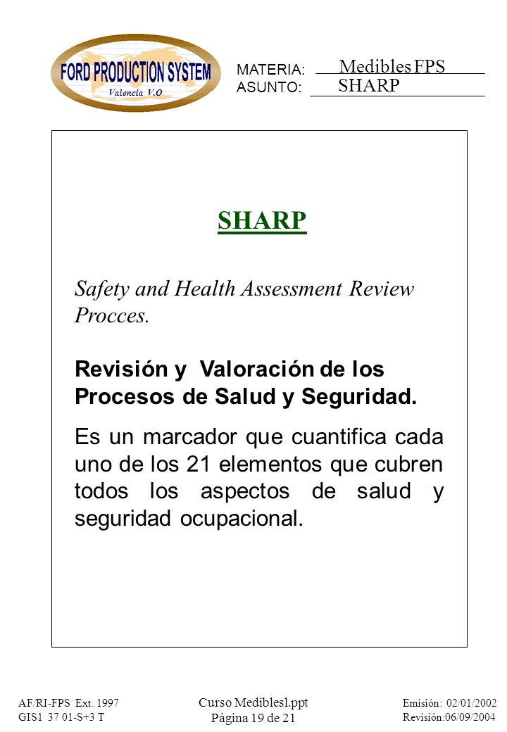 SHARP Safety and Health Assessment Review Procces.