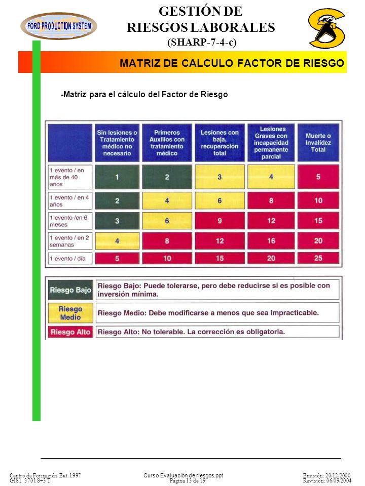 MATRIZ DE CALCULO FACTOR DE RIESGO