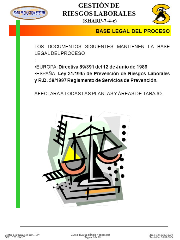 BASE LEGAL DEL PROCESO LOS DOCUMENTOS SIGUIENTES MANTIENEN LA BASE LEGAL DEL PROCESO. : EUROPA: Directiva 89/391 del 12 de Junio de 1989.