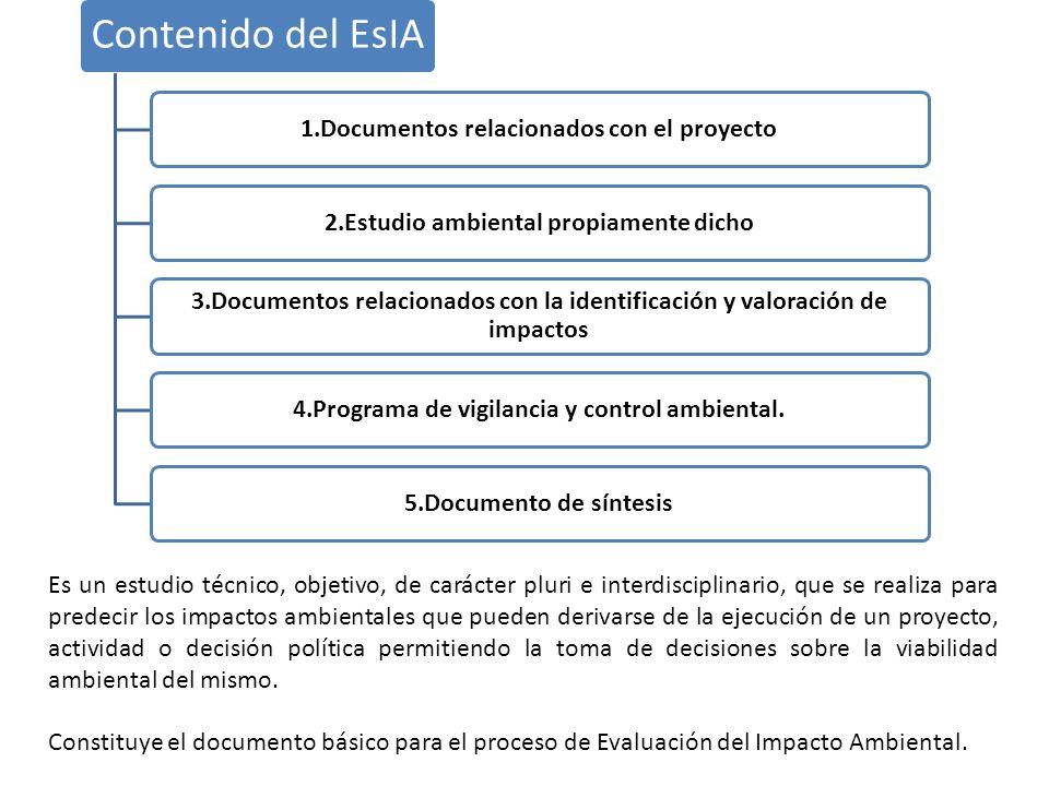 Contenido del EsIA 1.Documentos relacionados con el proyecto