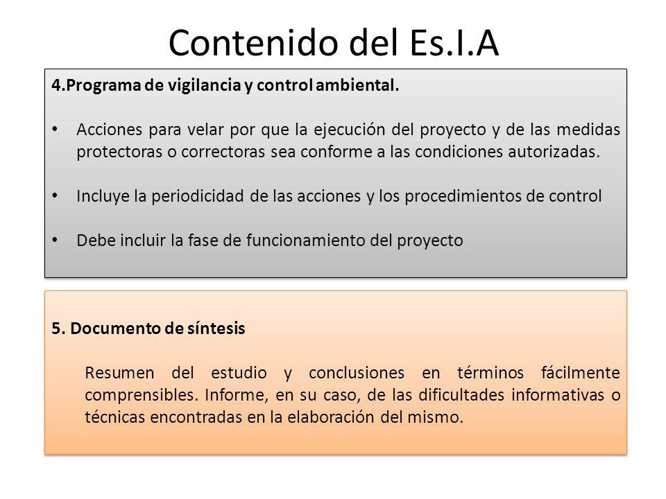 Contenido del Es.I.A 4.Programa de vigilancia y control ambiental.