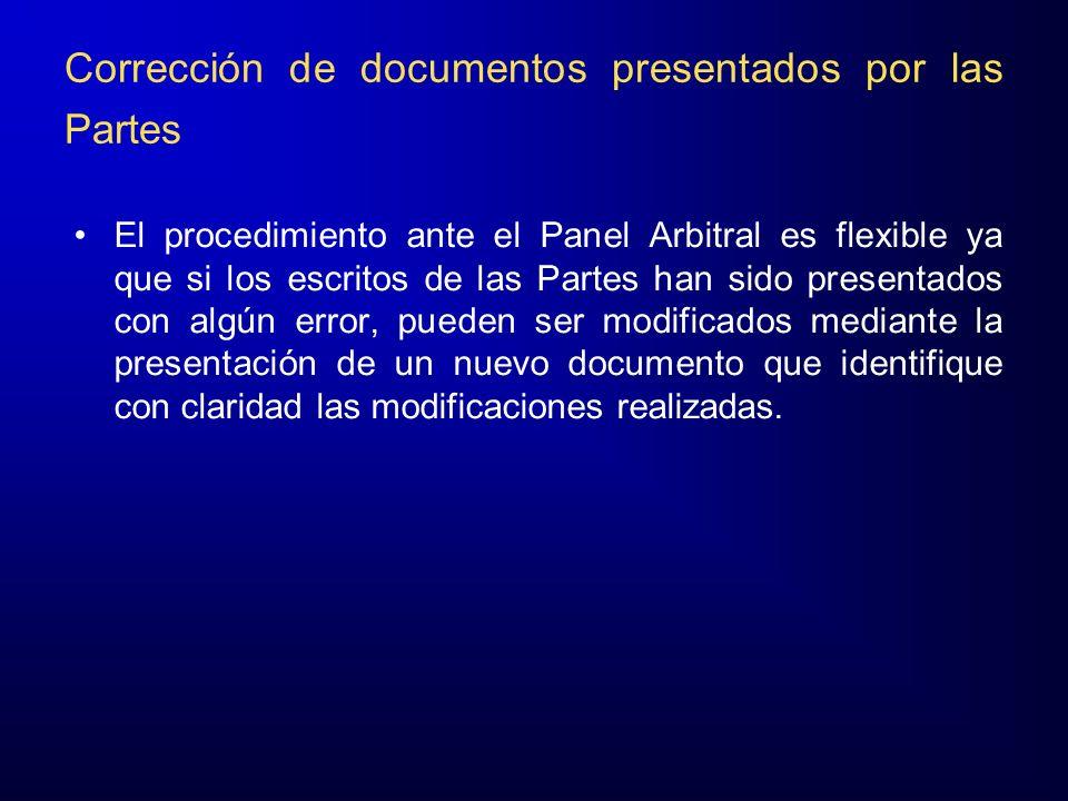 Corrección de documentos presentados por las Partes