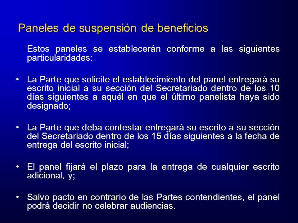 Paneles de suspensión de beneficios