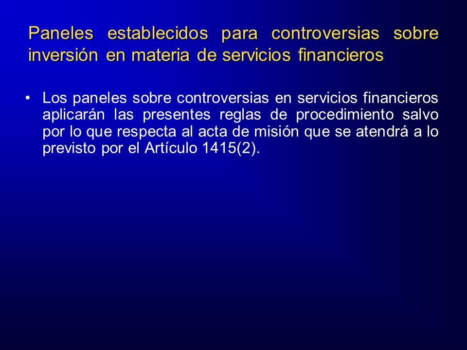 Paneles establecidos para controversias sobre inversión en materia de servicios financieros