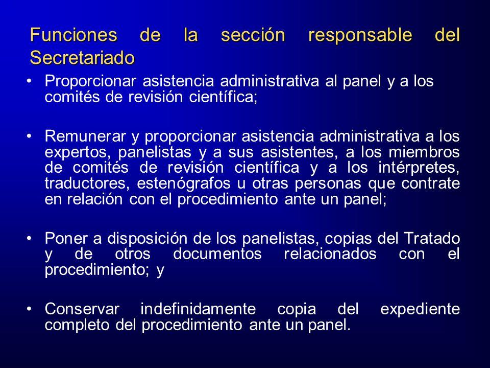 Funciones de la sección responsable del Secretariado
