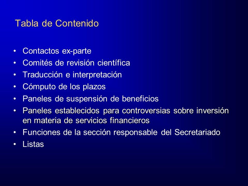 Tabla de Contenido Contactos ex-parte Comités de revisión científica