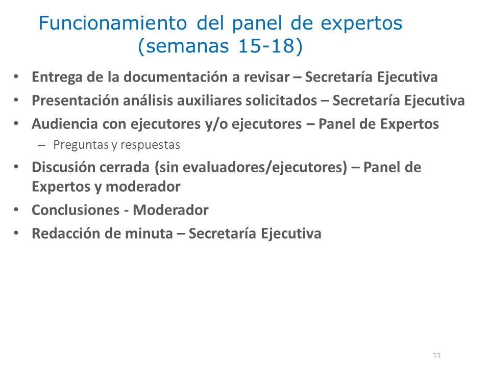 Funcionamiento del panel de expertos (semanas 15-18)