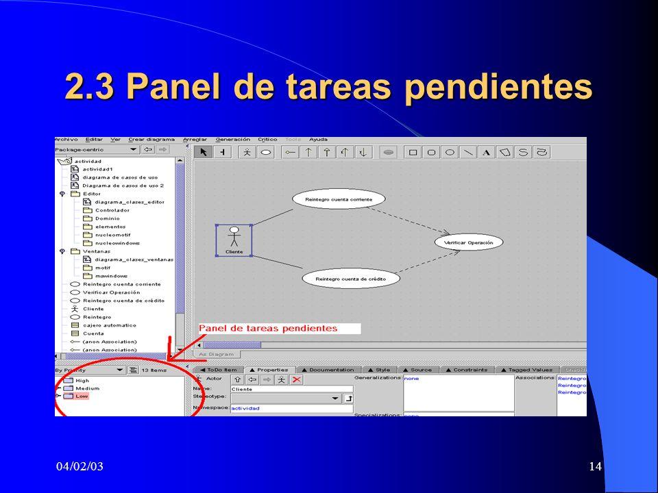 2.3 Panel de tareas pendientes