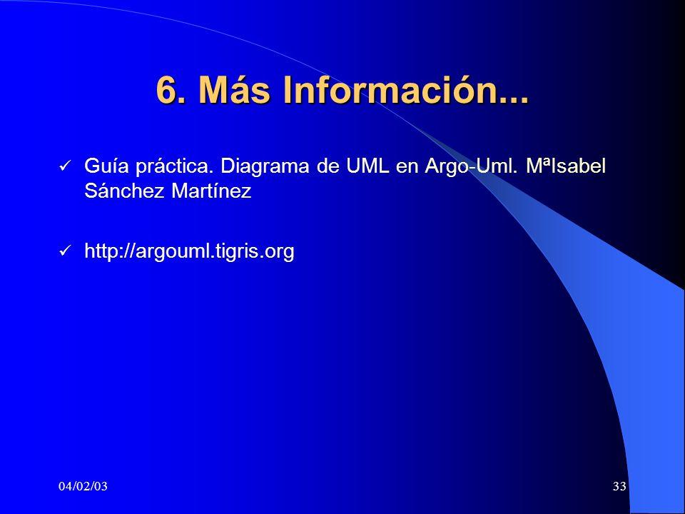 6. Más Información... Guía práctica. Diagrama de UML en Argo-Uml. MªIsabel Sánchez Martínez. http://argouml.tigris.org.