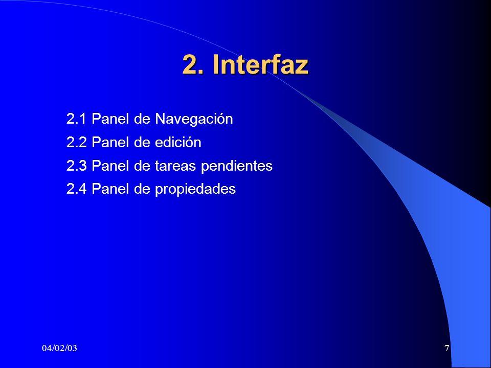 2. Interfaz 2.1 Panel de Navegación 2.2 Panel de edición
