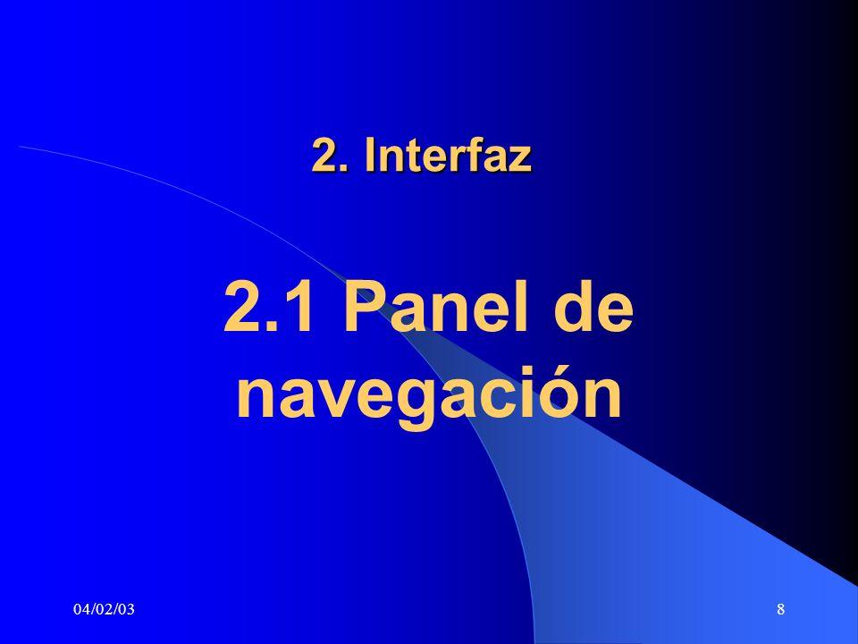 2. Interfaz 2.1 Panel de navegación 04/02/03