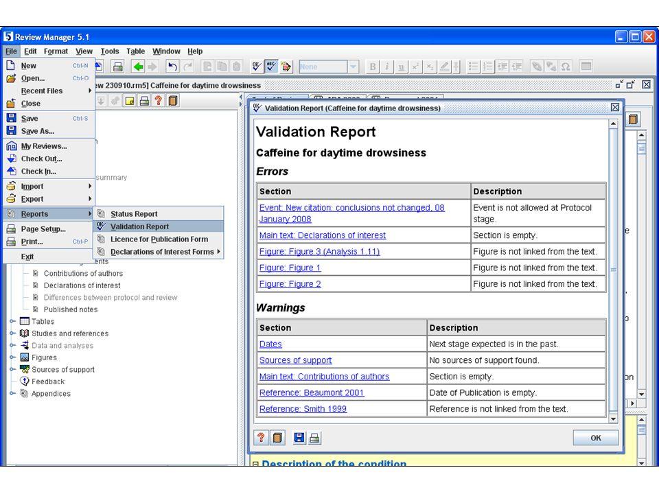 Validation reports