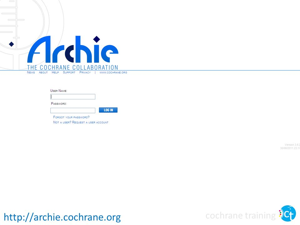 It is possible to log in to the Archie database using the web interface at archie.cochrane.org. Most authors will not need to use this interface – you can't edit your review this way, although you can see read-only versions of your review and edit your contact details.