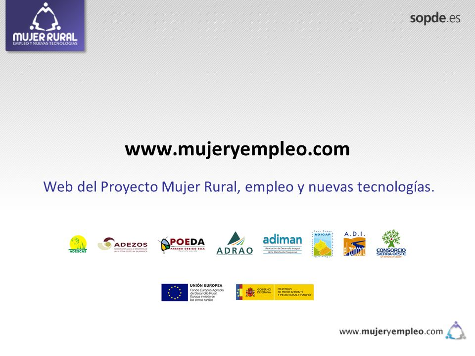 Web del Proyecto Mujer Rural, empleo y nuevas tecnologías.