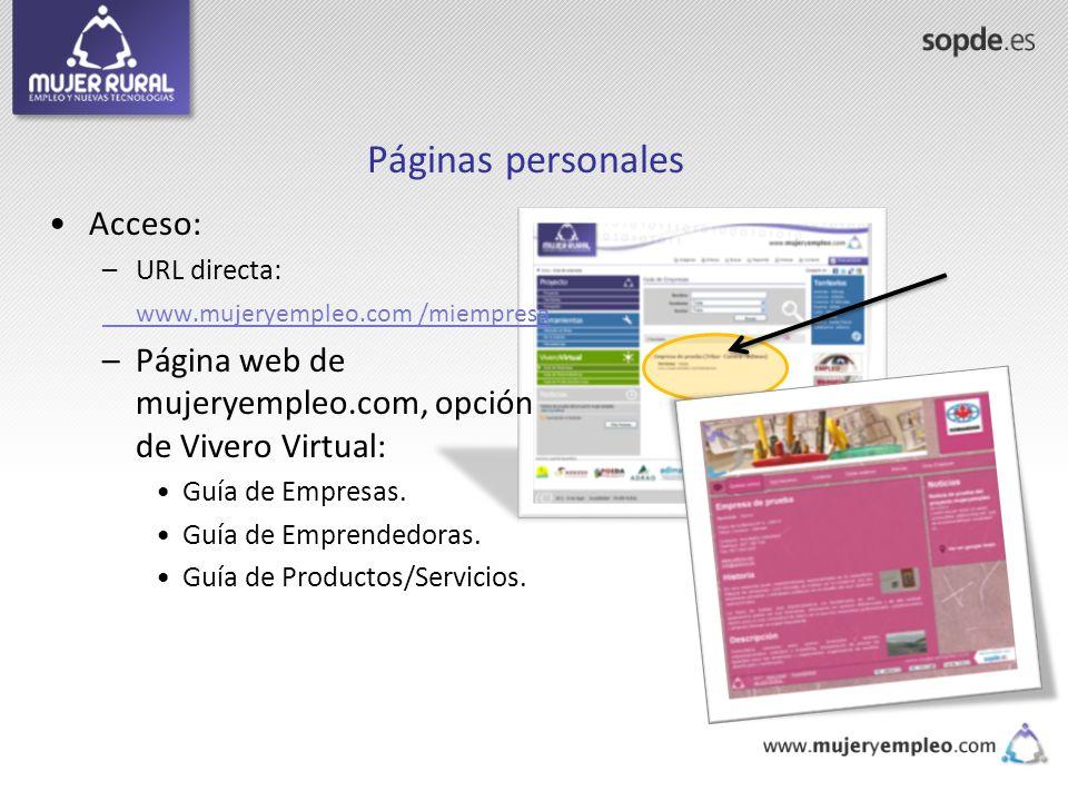 Páginas personales Acceso: