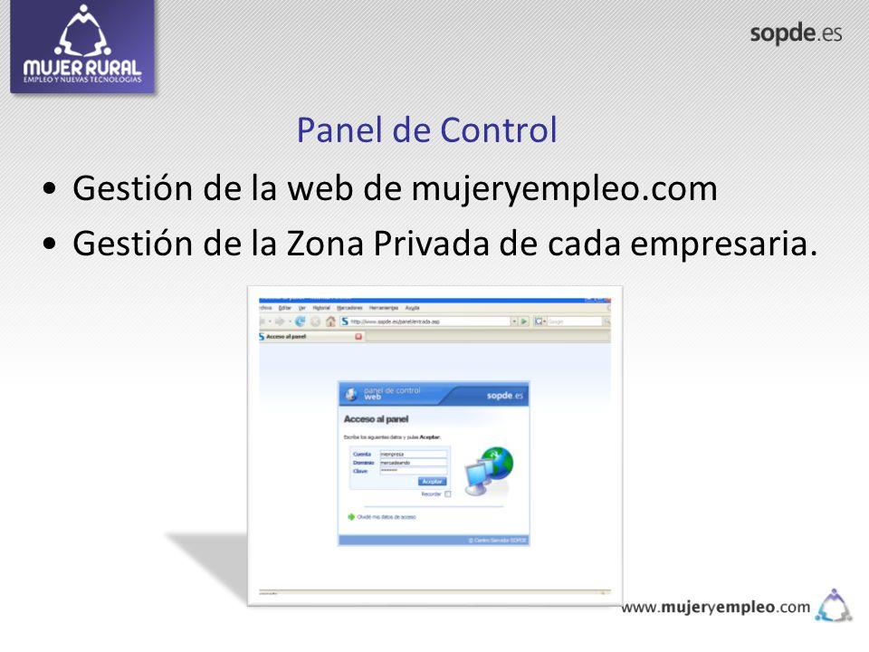 Panel de Control Gestión de la web de mujeryempleo.com.