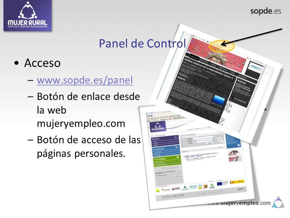 Panel de Control Acceso www.sopde.es/panel