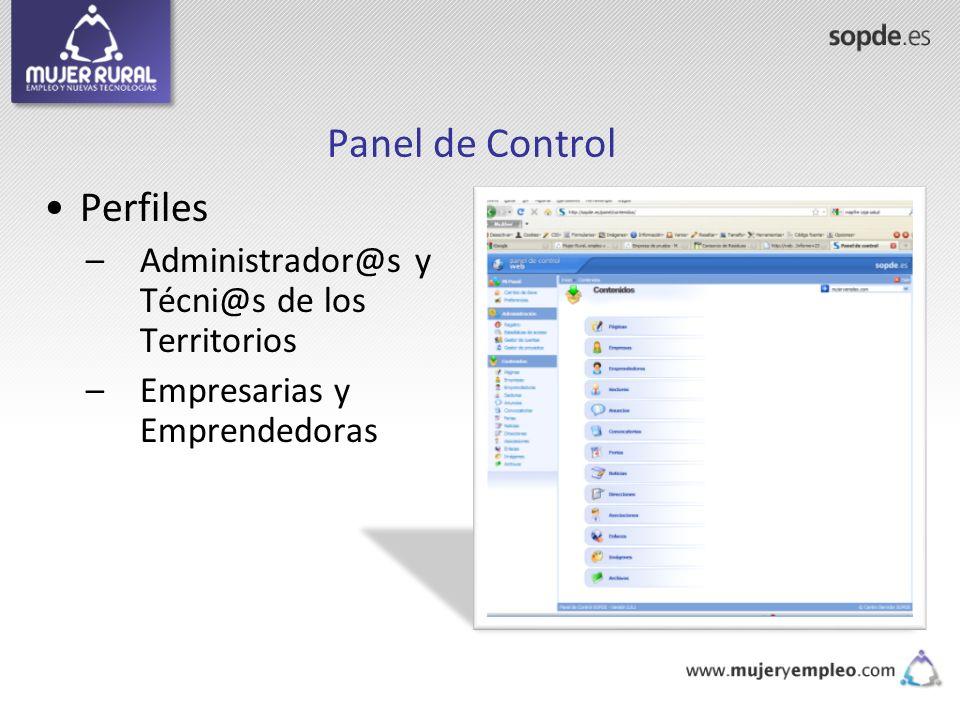 Panel de Control Perfiles Administrador@s y Técni@s de los Territorios