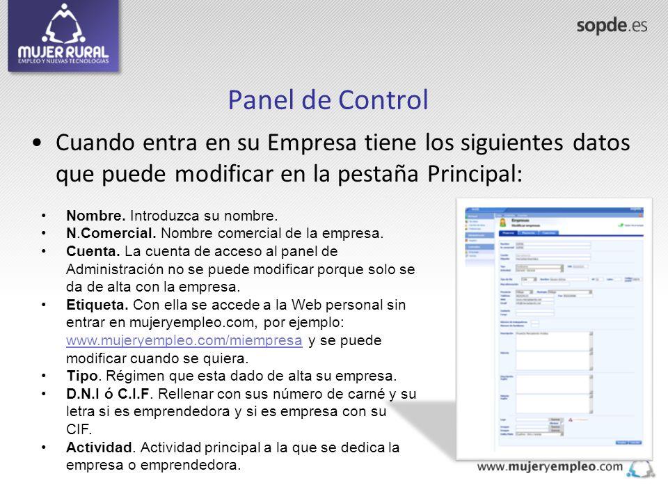 Panel de Control Cuando entra en su Empresa tiene los siguientes datos que puede modificar en la pestaña Principal: