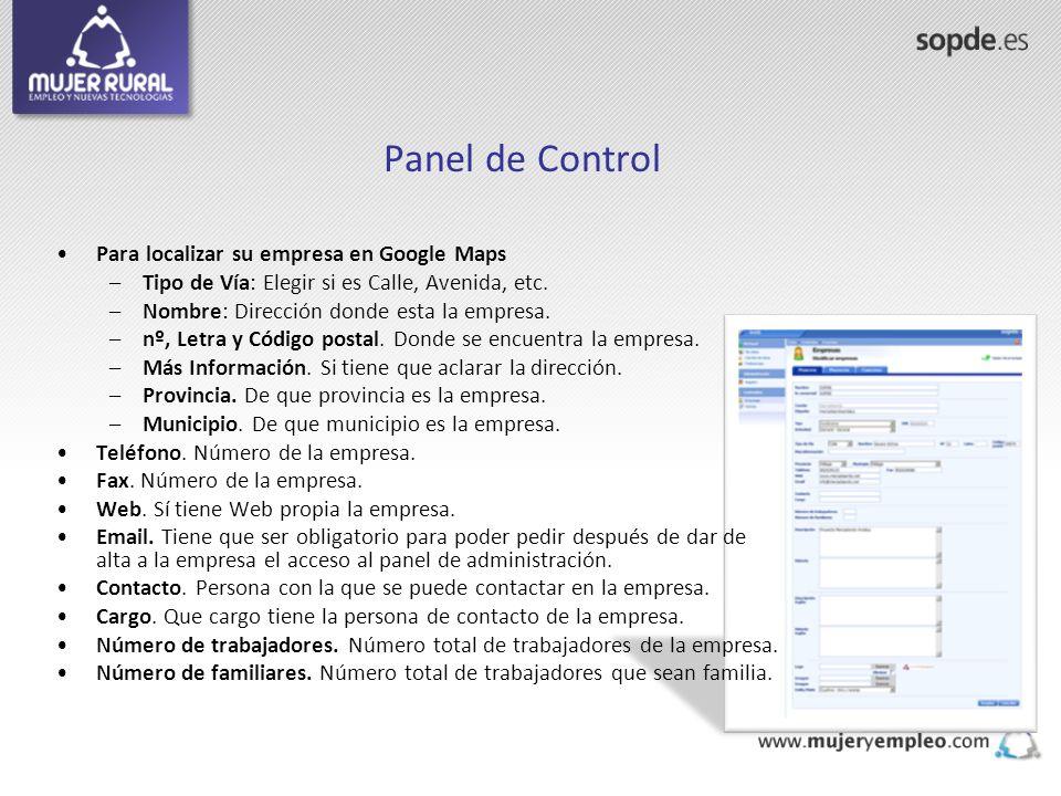 Panel de Control Para localizar su empresa en Google Maps