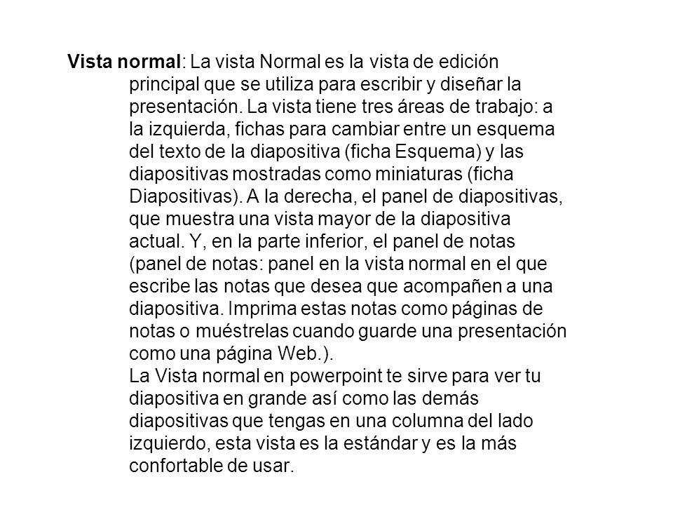 Vista normal: La vista Normal es la vista de edición principal que se utiliza para escribir y diseñar la presentación.