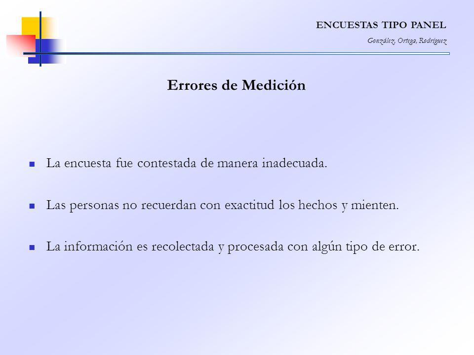 Errores de Medición La encuesta fue contestada de manera inadecuada.