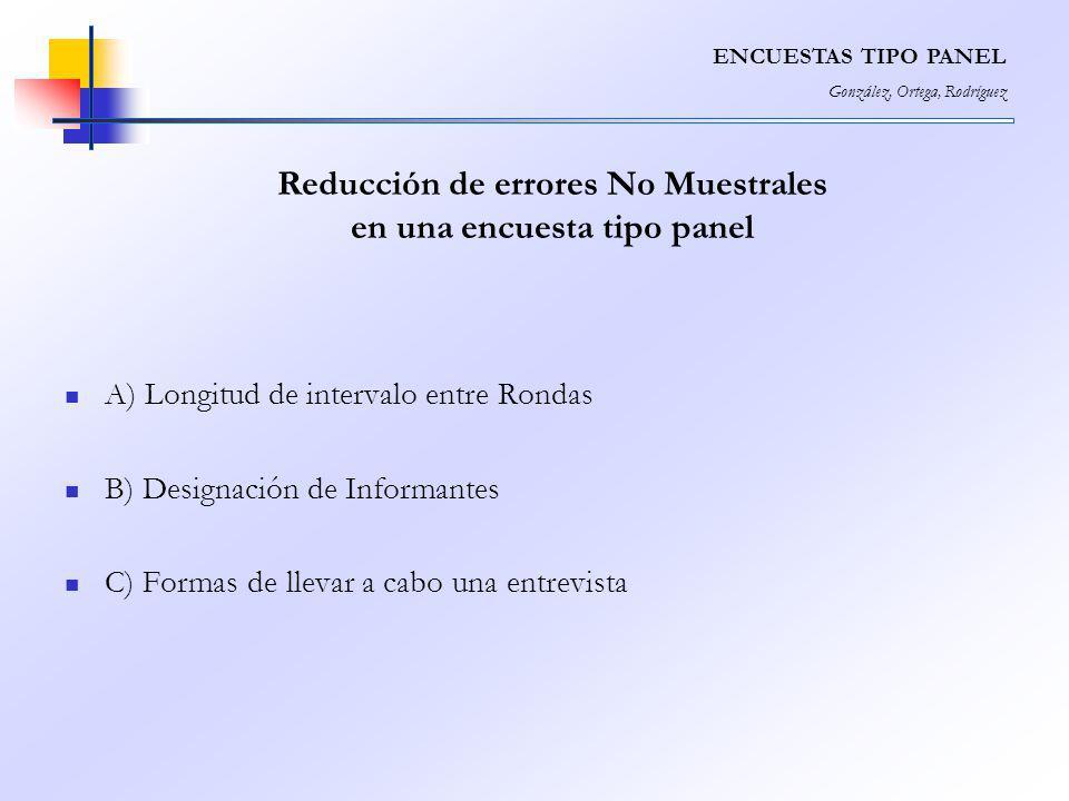 Reducción de errores No Muestrales en una encuesta tipo panel
