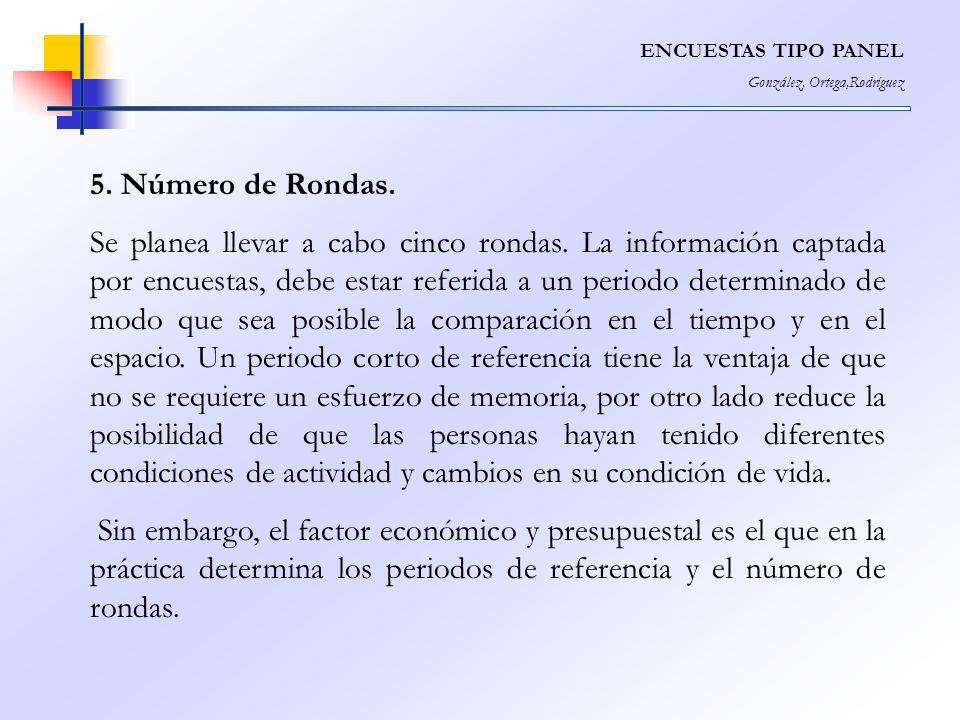 ENCUESTAS TIPO PANEL González, Ortega,Rodríguez. 5. Número de Rondas.