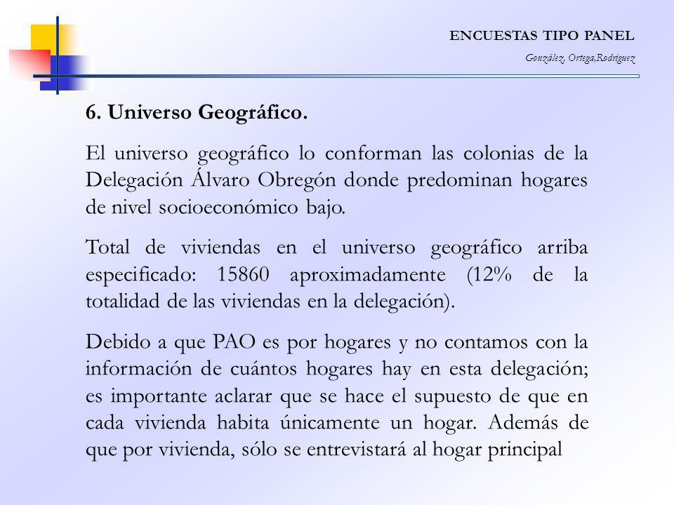 ENCUESTAS TIPO PANEL González, Ortega,Rodríguez. 6. Universo Geográfico.