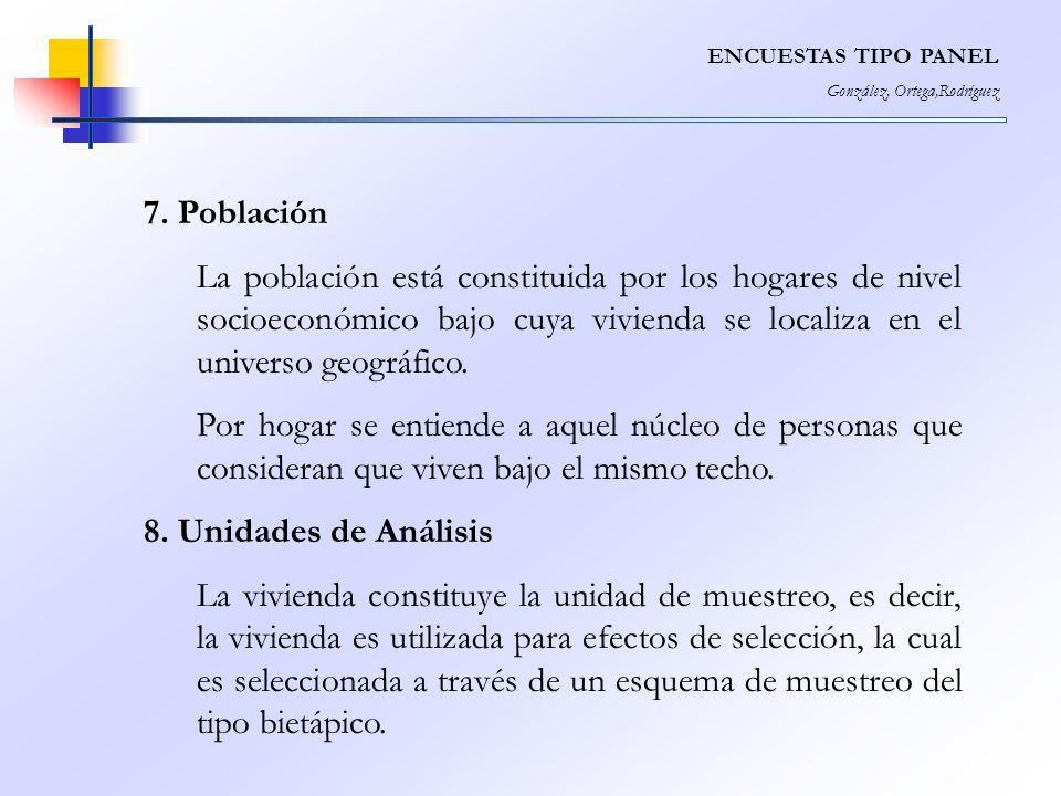 ENCUESTAS TIPO PANEL González, Ortega,Rodríguez. 7. Población.