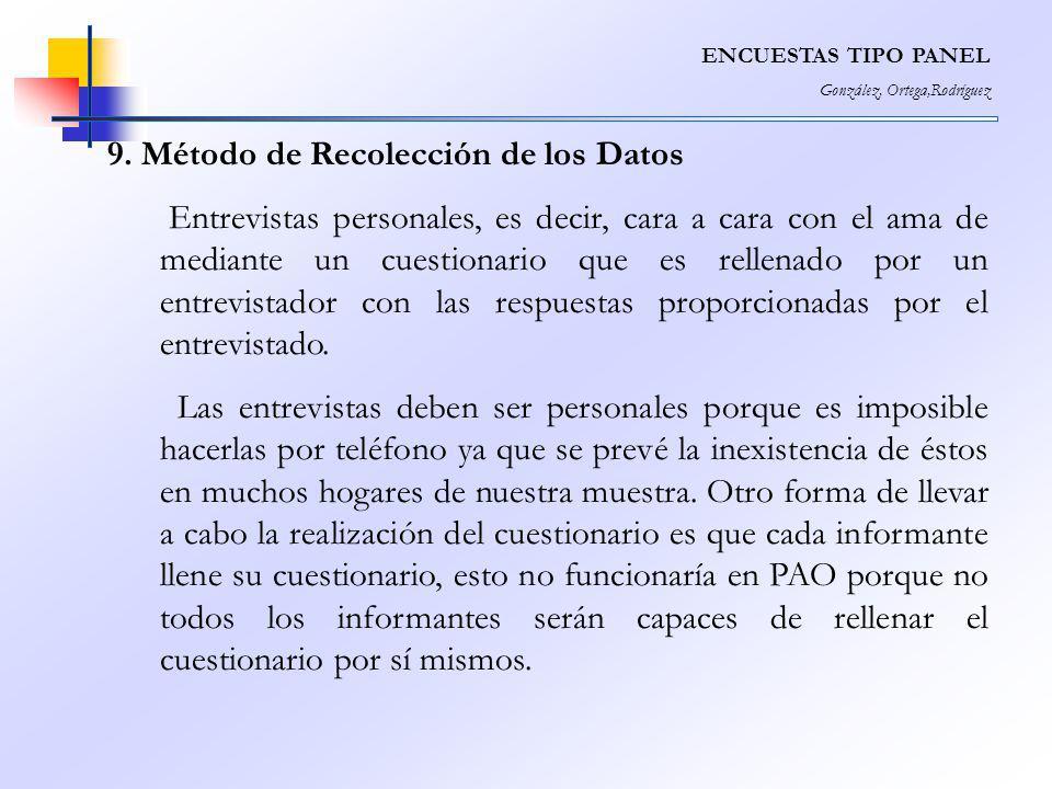 9. Método de Recolección de los Datos