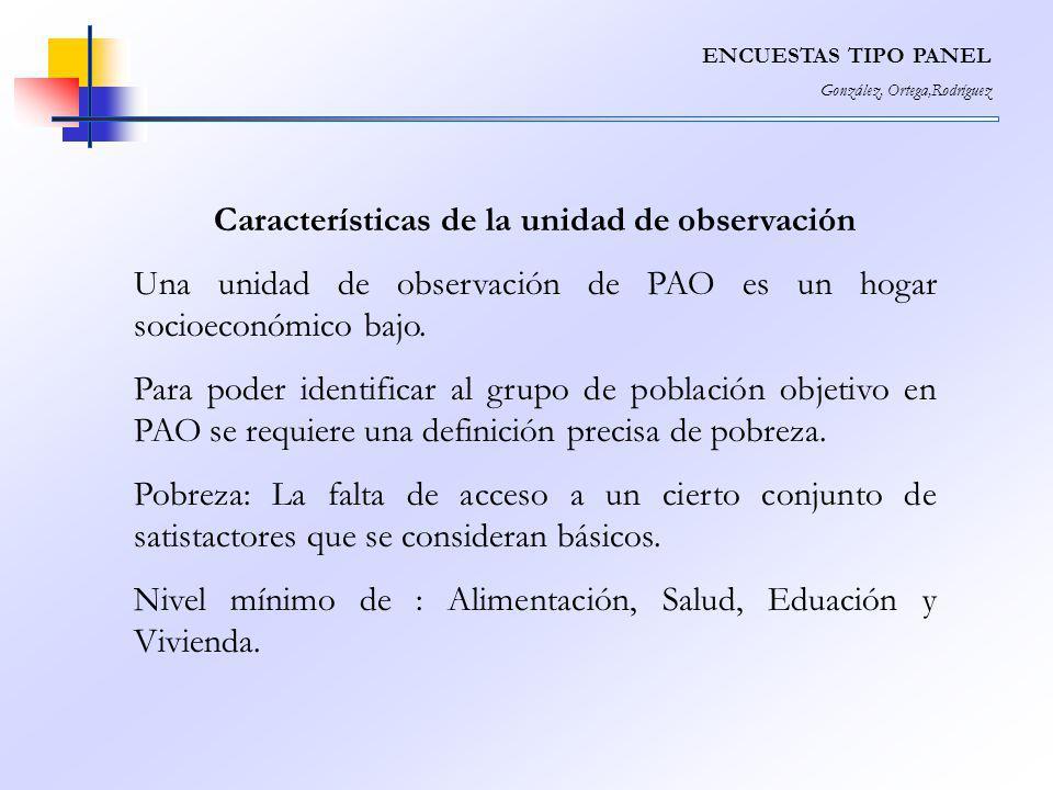 Características de la unidad de observación