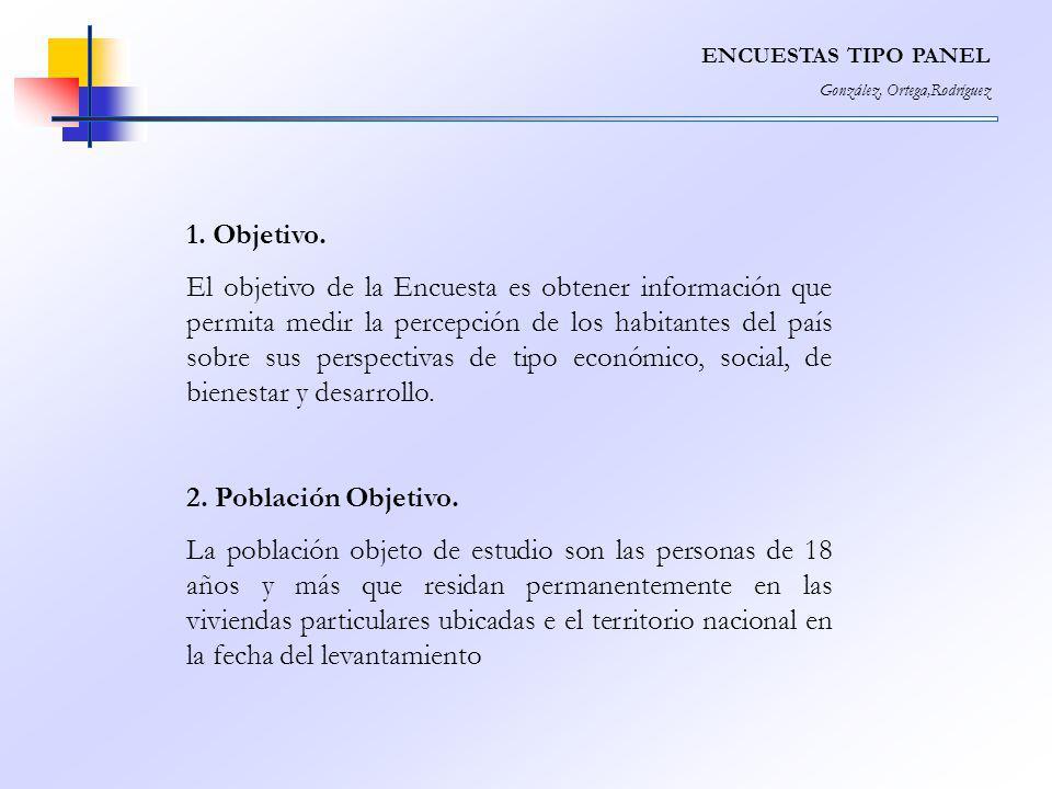 ENCUESTAS TIPO PANEL González, Ortega,Rodríguez. 1. Objetivo.